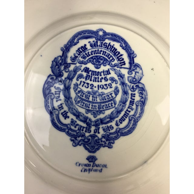 """1930s Blue and White Transferware Plates """"George Washington Bicentenary Memorial Plates"""" - a Pair For Sale - Image 5 of 6"""