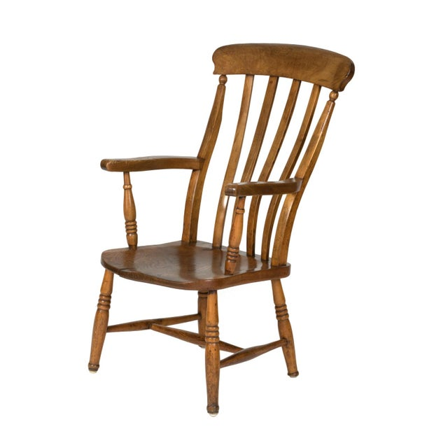 English Elm Vertical Slat Back Armchair Circa 1890 With Turned Legs and H-Stretcher For Sale - Image 13 of 13