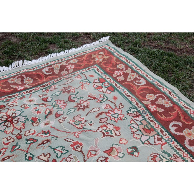 Textile 1950s Vintage Floral Wool & Cotton Kilim - 6′8″ × 9′4″ For Sale - Image 7 of 13