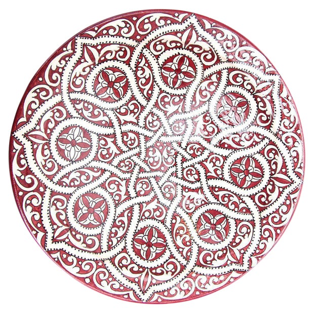 Atlas Arabesque Crimson Plate For Sale