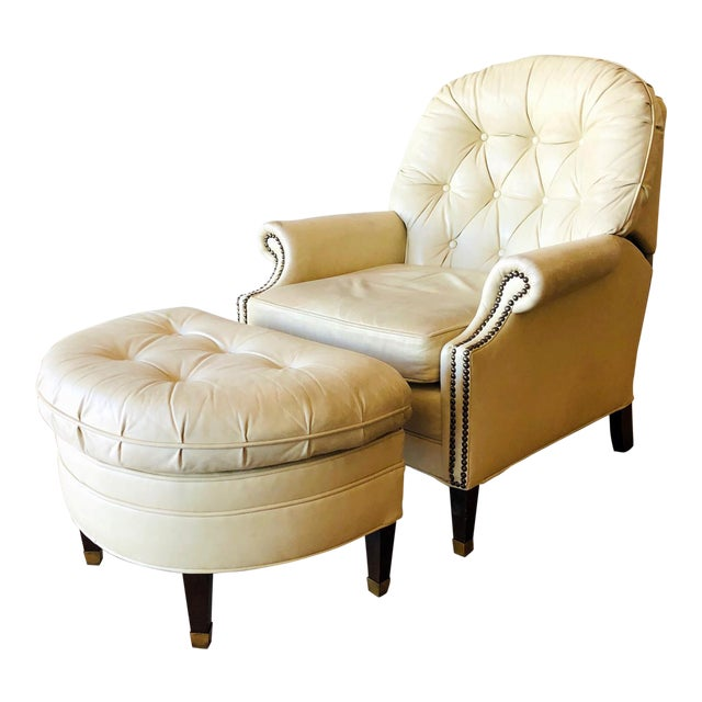 Bradington Young Distressed Tufted Leather Recliner and Ottoman For Sale