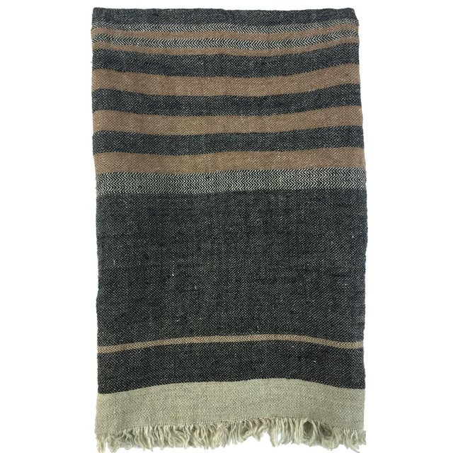 Orange Belgian Black Stripe Towel For Sale - Image 8 of 10