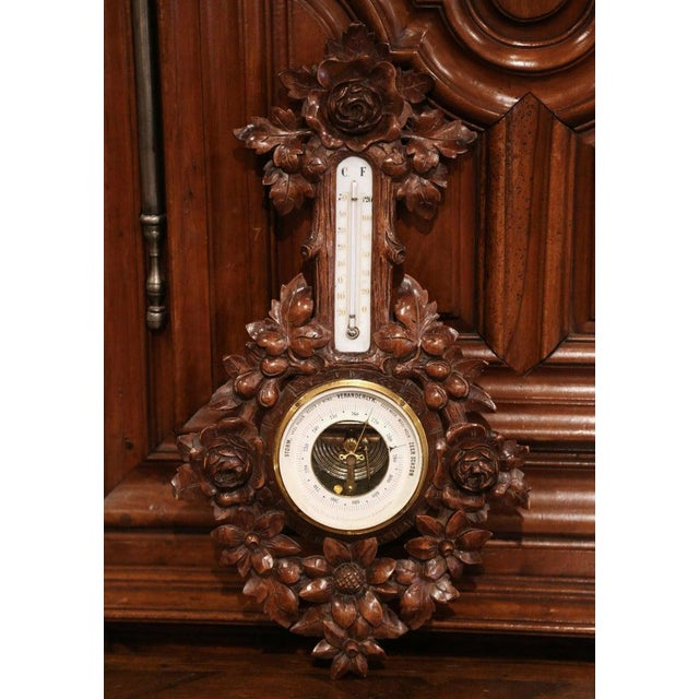 Late 19th Century 19th Century French Black Forest Carved Walnut Barometer For Sale - Image 5 of 9