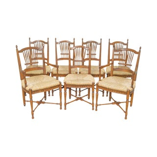 French Country Style Wheat Back Rush Seat Dining Chairs - Set of 7
