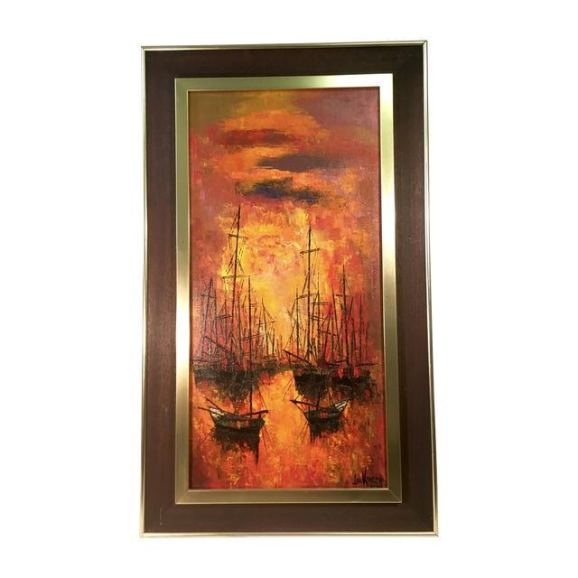 Vintage 1960s Abstract Sailboats Painting - Image 1 of 9