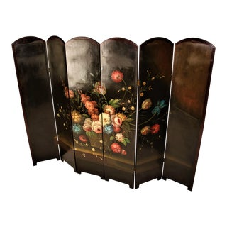 Antique French Dressing Hand Painted Six Panel Screen Divider For Sale