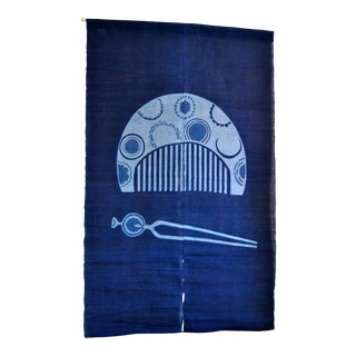 Japanese Indigo Noren Curtains With Tsuge Comb & Hairpin