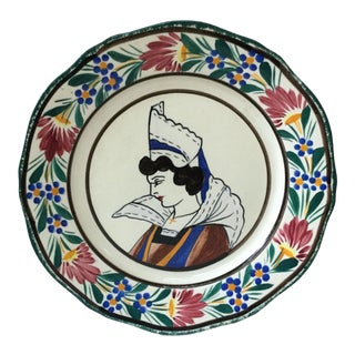 1930 French Faience Quimper Plate For Sale
