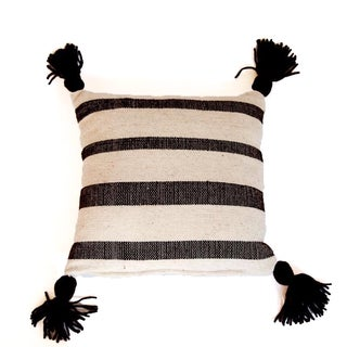 Mexican Wool White & Brown Striped Throw Pillow For Sale