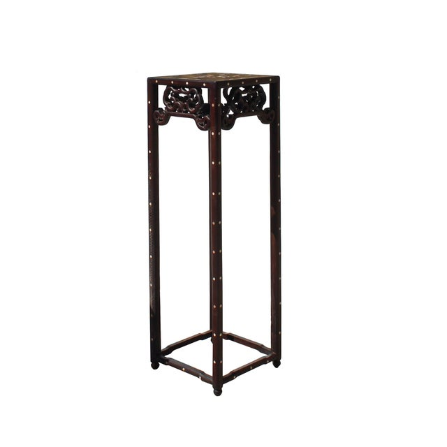 Art Deco Chinese Huali Dark Brown Square Mother of Pearl Inlay Stand Pedestal Table For Sale - Image 3 of 8