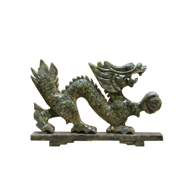 2010s Chinese Green Stone Carved Dragon Fengshui Figure For Sale - Image 5 of 7