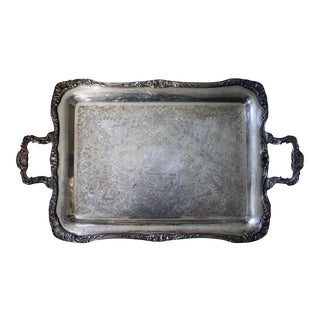 Antique Roger's & Bro Silver Footed Butler Tray | 27x16 Stunning Ornate Holloware Handled Waiters Tray Discontinued Pattern | 9 Lbs. For Sale
