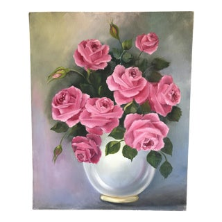 Vintage Pink Roses Bouquet Canvas Painting For Sale