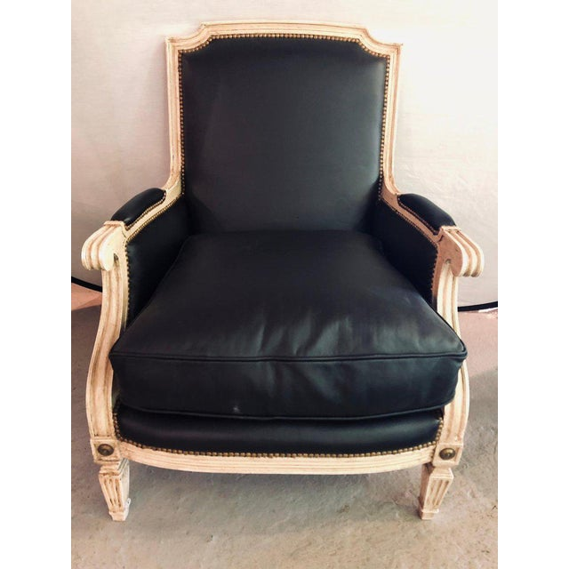 1950s Pair Painted and Parcel Gilt Maison Jansen Black Leather Arm or Bergere Chairs For Sale - Image 5 of 13