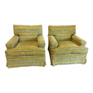 Chartreuse & Canary Yellow Chenille Club Chairs - A Pair