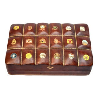 Swedish American Line Leather Box For Sale