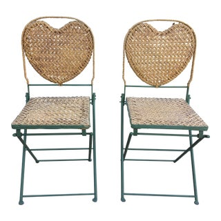 Iron & Rattan French Garden Chairs - A Pair