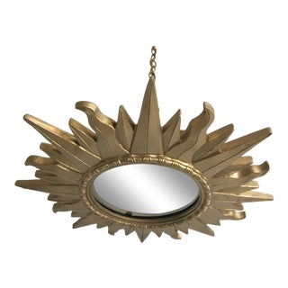 Mid-Century Gilt Wood Sunburst Light