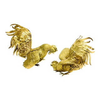 1950s Brass Roosters – a Pair