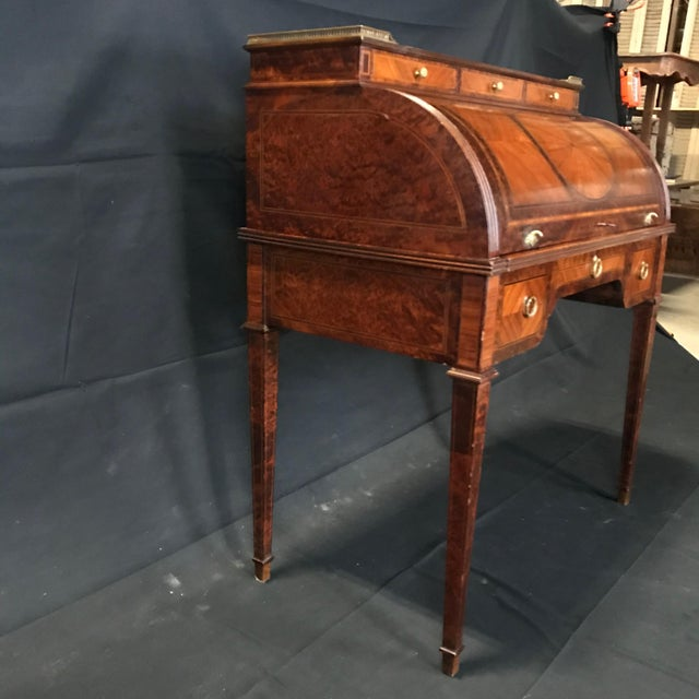Antique 19th Century Louis XVI Cylinder Bureau Rolltop Desk For Sale In Portland, ME - Image 6 of 8