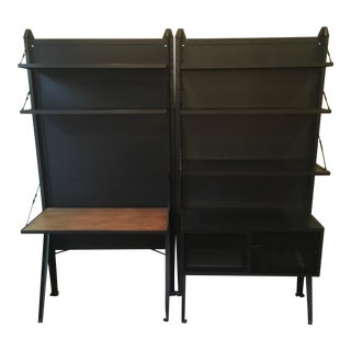 Restoration Hardware Black Desk and Shelving Units