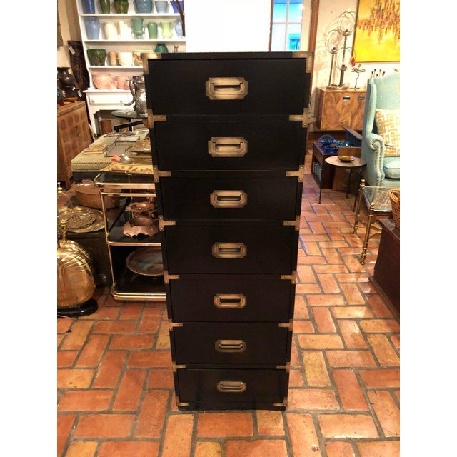 Black Campaign Brass Accent Highboy Chest For Sale - Image 10 of 11