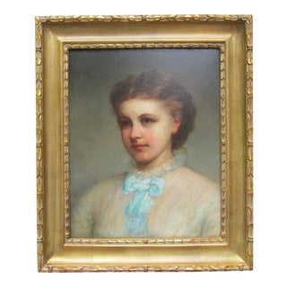 """1870s Antique Richard Morell Staig """"Portrait of Susie ..."""" Painting For Sale"""