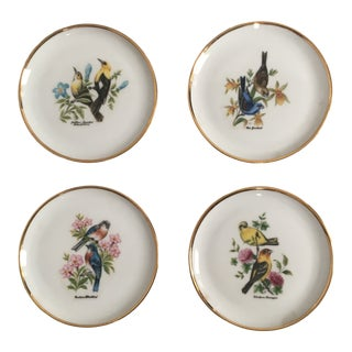 European Porcelain & Gold Accent Floral Bird Coasters - Set of 4 For Sale