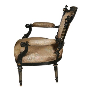 Ebonized Gildwood Louis XVI Armchairs For Sale
