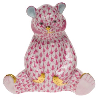 Herend Baby Bear Sitting Raspberry Fishnet Figurine With 24k Gold For Sale