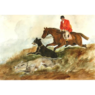 "C. 1950 Vintage Watercolor, ""The Fox Hunt"""