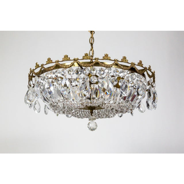 American Classical Wide Shallow Crystal Basket Chandelier With Brass Garland For Sale - Image 3 of 11