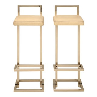 Circa 1970 Romeo Rega Chrome and Leather Bar Stools - a pair For Sale