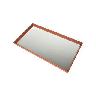 Danish Modern Beveled Edge Teak Wall Mirror For Sale