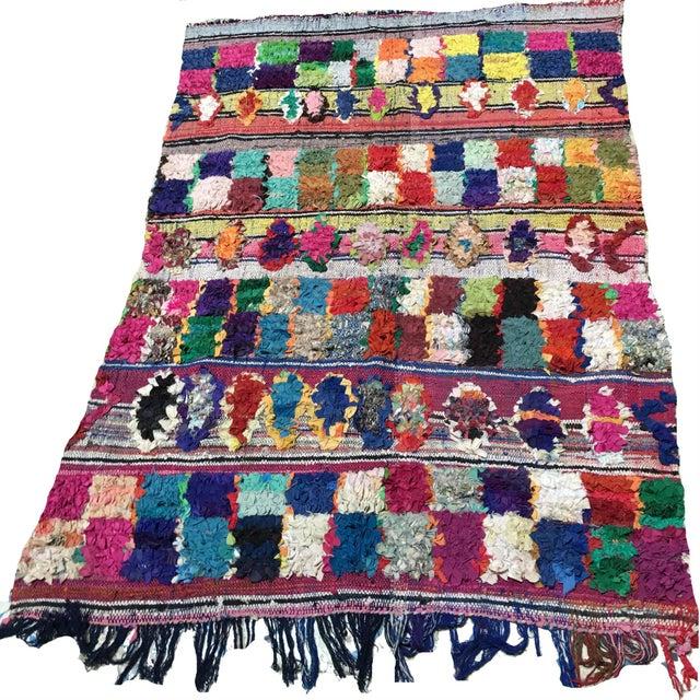 Multicolored Moroccan Boucherouite Rug - 4′11″ × 7′2″ For Sale