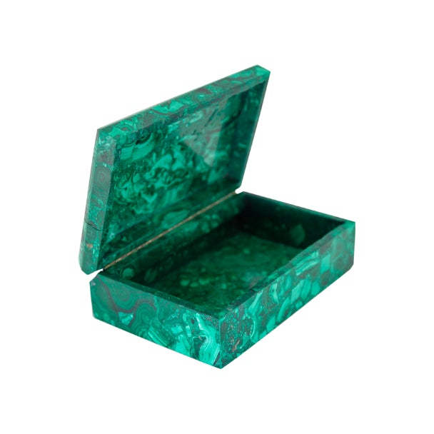 These beautiful malachite boxes w/ hinged lids are perfect for a desk, entry or coffee table. Adorn your home with this...