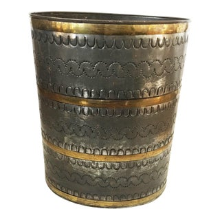 Vintage Mexican Mid Century Modern Tin and Brass Trash Can For Sale