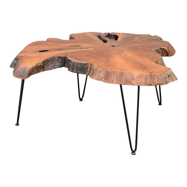 Mid Century Modern Live Edge Coffee Table With Hairpin