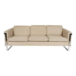 Excellent Neutral Floating Steel Frame Milo Baughman Style Mid-Century Modern 1970s Sofa For Sale