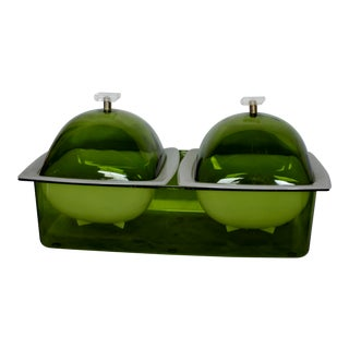 1960's Space Age Double Dome Green Chill Server - 5 Pc.