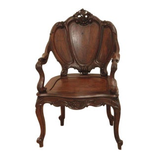Louis XV Style Continental Rosewood Armchair For Sale