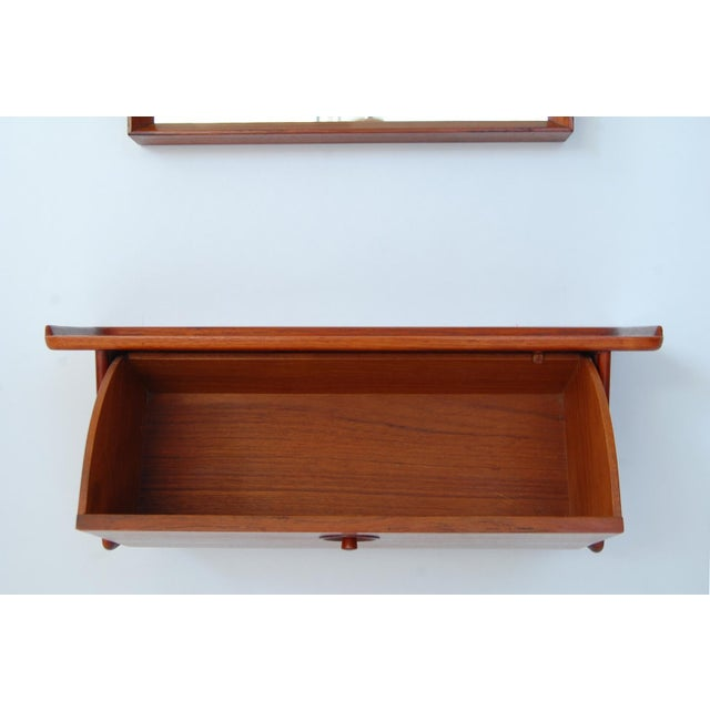 Mid-Century Modern Teak and Wall Shelf and Mirror by Ludvig Pontoppidan For Sale - Image 3 of 8