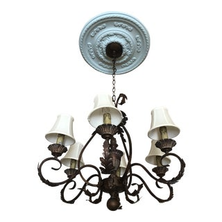 This Will Be the Final Markdown on This Huge Bronze Iron Ornamental 6 Light Chandelier! For Sale