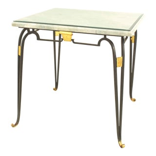 French Iron Travertine Top Game Table For Sale