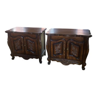 French Country Dark Wood Nightstands - a Pair For Sale
