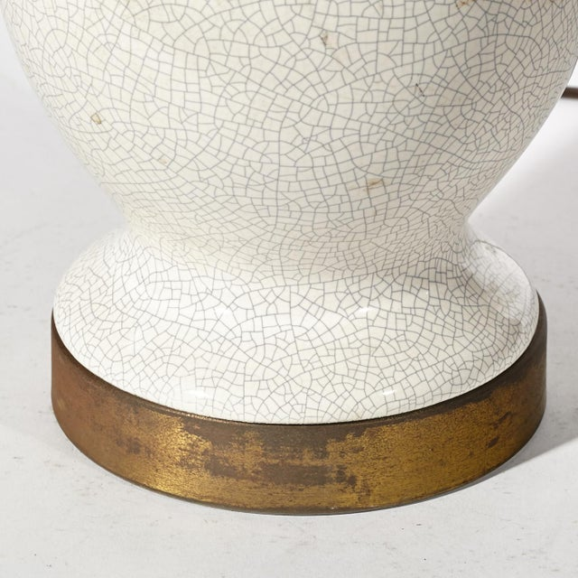 Vintage 1950s White Crackle Table Lamp - Image 6 of 6