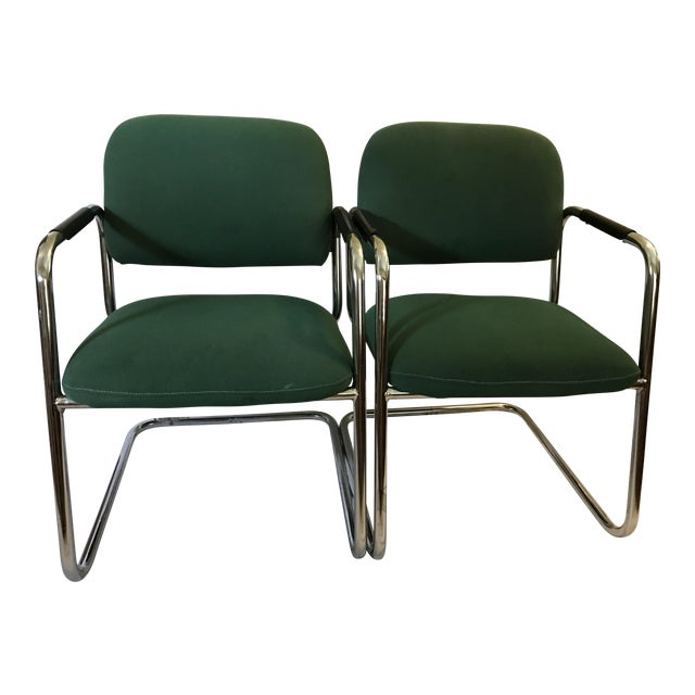 Cramer Cantilever Armchairs - A Pair - Image 1 of 8