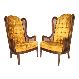Tufted Velvet Cane Wingback Chairs by Lewittes - A Pair