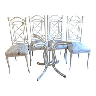 Vintage Chinese Chippendale Kessler Industries Faux Bamboo Patio Chairs & Table Base For Sale
