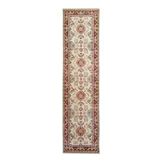 "Shabby Chic Kazak Garish Mervin Ivory Red Wool Rug - 2'8"" X 9'8"" For Sale"